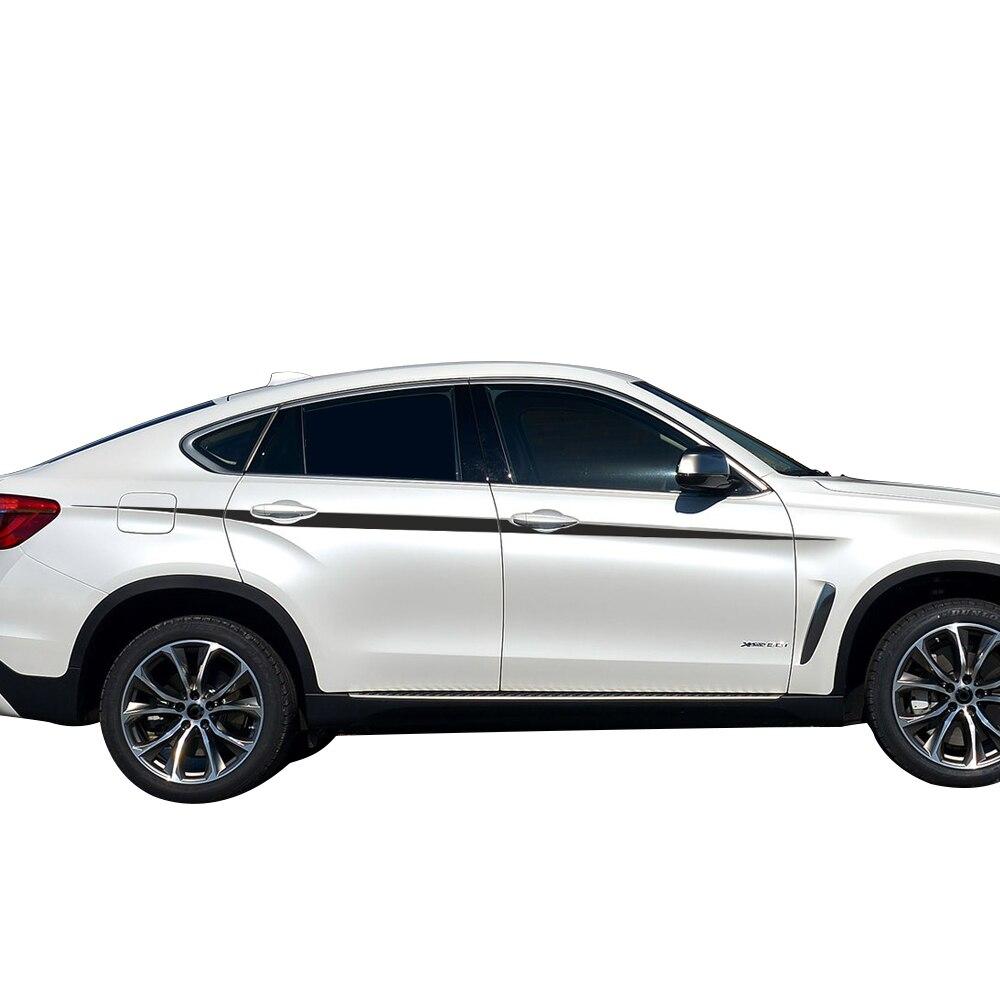 Style de voiture ligne de taille Autocollants M Performance Accent Rayures pour BMW X5 F15 F85 X6 M F16 F86 Carbone étiquette en vinyle autocollant graphique