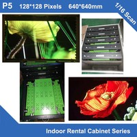TEEHO 6PCS/lot led billboard display P5 indoor led aluminum profile cabinet rental screen 640mm*640mm slim led cabinet 1/16 scan