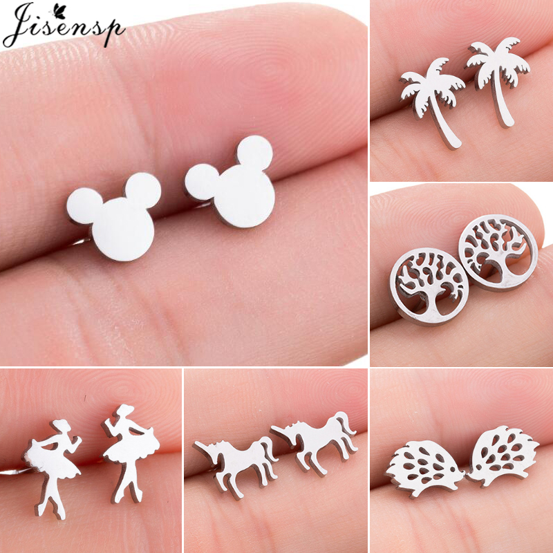 Jisensp Stainless Steel Mickey Stud Earrings Coconut Tree Earings For Women Girls Everyday Jewelry Animal Accessories Gifts