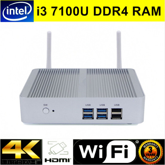 Barebone Nuc Fanless Mini PC I3 DDR4 Windows 10 Intel Core I3 7100U Quad Core HTPC HD Graphics 300M Wifi TV Box VGA HDMI