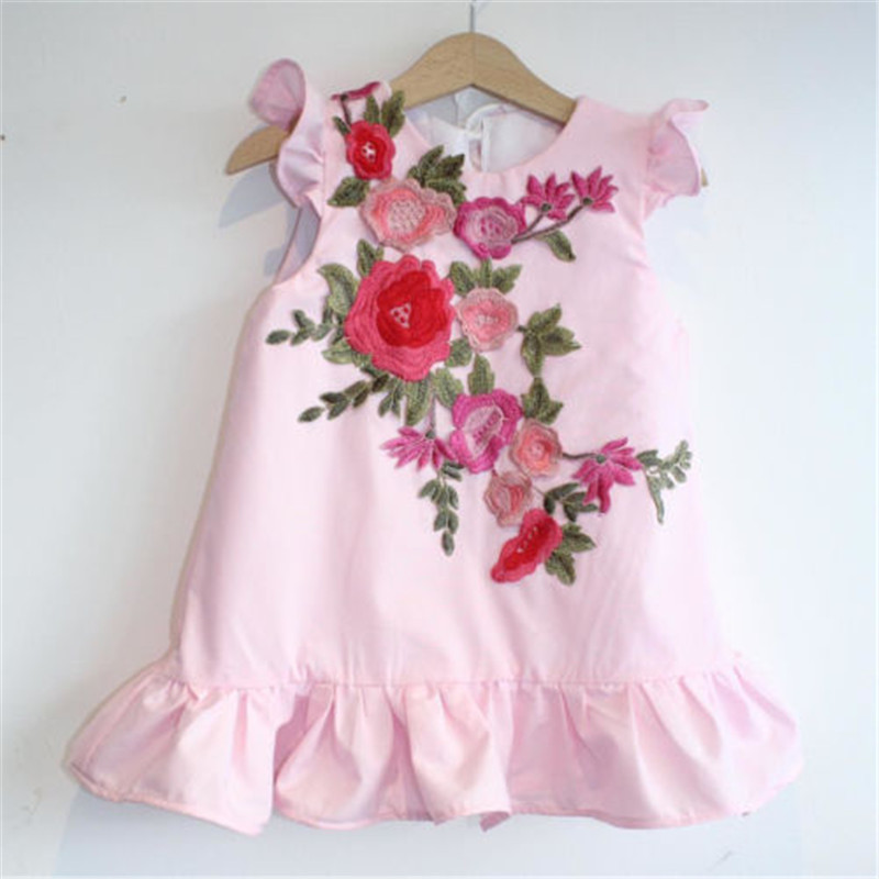 Sweet Kids Baby Girls 3D Flowers Princess Ruffle Crew Neck Cute Dress Summer Embroidery Clothes famous brand top quality dermis women bag 2016 new fashion shoulder bag casual messenger bag handbag killer package