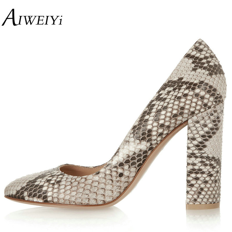 AIWEIYi 2018 Women Pumps Snake Print PU Leather Square High Heel Shoes Woman Round Toe Slip On Black Ladies Wedding Shoes Pumps