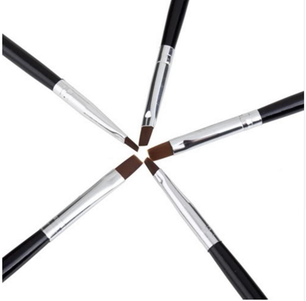MAKARTT 100 компл./лот 5 шт. Черная Кисть для дизайна ногтей набор для скульптурный УФ-гель салонная ручка плоский набор кистей G0051XXX