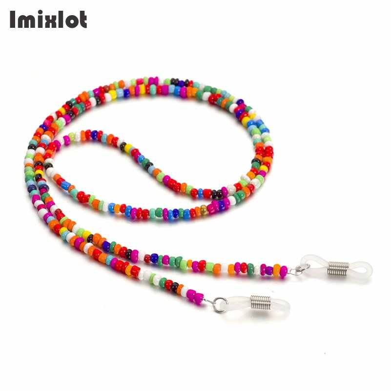 Colorful Beads Chain for Reading Glasses Metal Eyeglass Sunglasses Chain Anti-slip Eyewears Cord Holder Lanyard Necklace