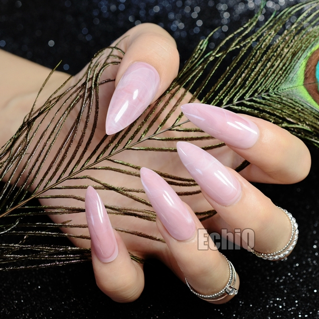 Shiny Pink Marble Shell Long Sharp Stiletto False Nail Stone Texture Fake Nails Full Acrylic