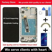 Dokunmatik ekranlı 10 dokunmatik için AAA kalite LCD Huawei P akıllı 2019 LCD çerçeve LCD ekran P akıllı 2019 LCD ekran POT LX1 L21 LX3