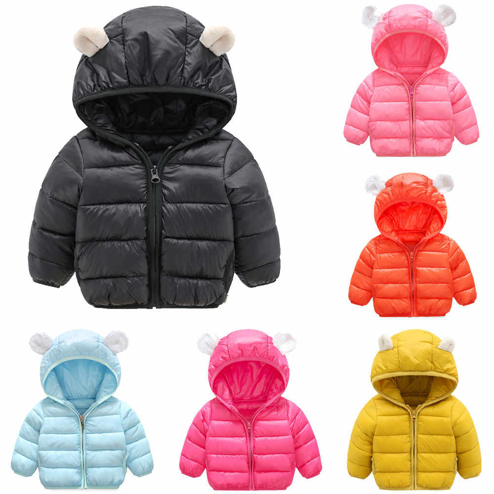 5d3abf628 Chlidren Boys Girl Winter Coats Jacket Kids Zip Thick Ears Snow Hoodie  Clothes Down Jackets Baby