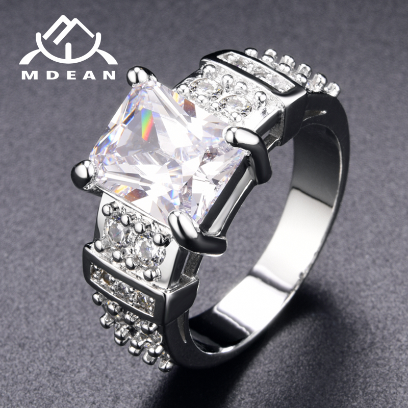 MDEAN White Gold Color Engagement Rings 13# for Women Wedding Clear AAA Zircon Fashion Jewelry Bague Bijoux Size 5 6 7 8 9 10 12
