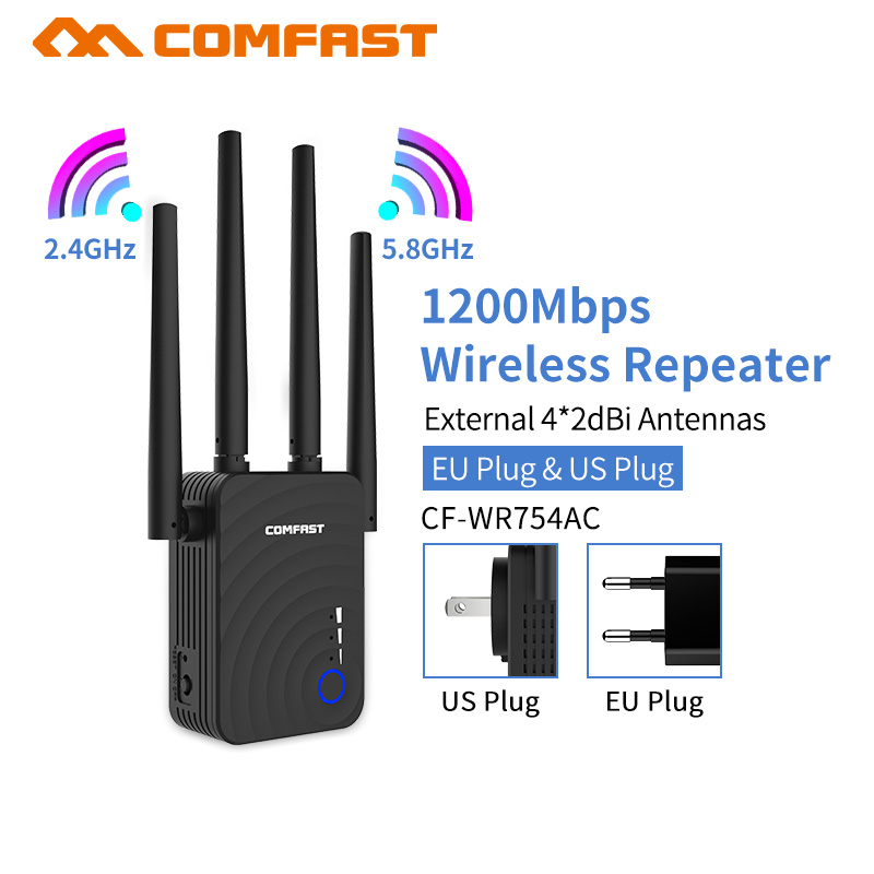 AC1200 Dual For Band Gigabit 1200Mbps 4x2dBi External Antenna Wireless WIFI Repeater Wi Fi Extender Amplificador Amplifer AP