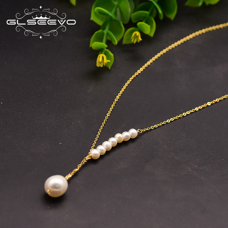 GLSEEVO Original 925 Sterling Silver Natural Fresh Water Pearl Handmade Pendant Necklace For Women Fine Jewelry Choker GN0094