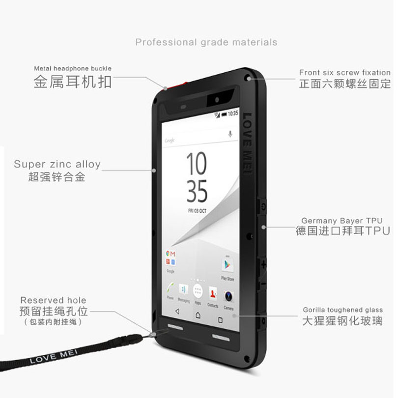 huge discount 3e033 71c8c US $33.56 |Original Love Mei Aluminum + Glass Screen Shock Drop Waterproof  case For Sony Xperia Z1 Z2 Z3 Z4 Z5 Premium Compact Z51-in Fitted Cases ...
