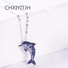 925 Sterling silver Pendant necklace Lovely dolphin crystal tail wholesale Womens fashion jewelry