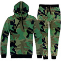 survetement homme 2 pieces men/women's camouflage Tracksuit Set print Men Hoodied sweatshirt + pants 2 pcs set emoji joggers