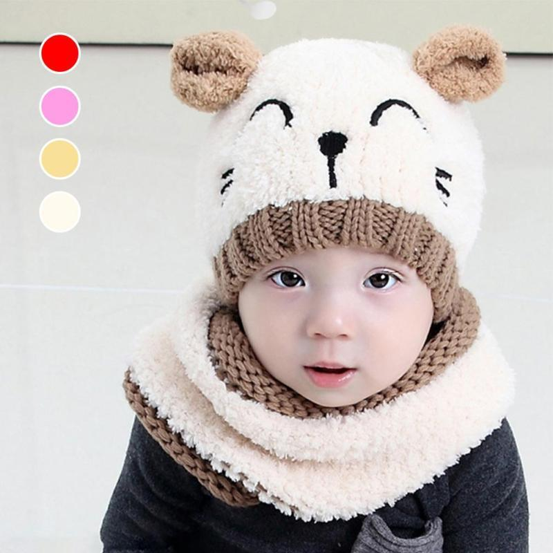 Warm baby children hat and scarf Winter boys girls Knitted hat Beanies Cartoon toddler Infant Beanies baby caps Xmas gift D3 ...