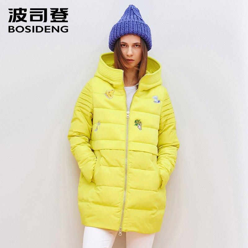BOSIDENG women's down coat medium-long winter jacket thicken outwear hooded applique decoration big collar parka B1501078
