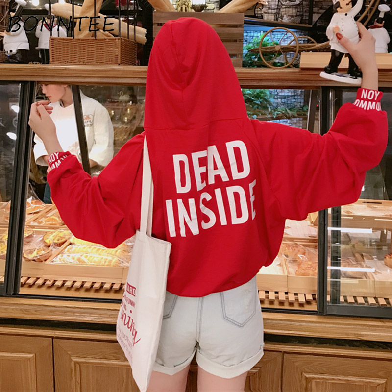 Oversize Hoodies Ulzzang Women Letter Printed Lantern Sleeve Short Style Pullover Womens Hooded Sweatshirts New Arrival Lovely