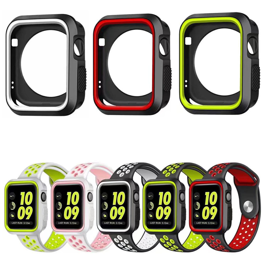 все цены на Stylish Colorful Soft Silicone Cover for iWatch Serise 3 2 1 Apple Watch Case Protective Shell 38mm 42mm Perfect Match