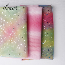 1yard/lot Width 1.6m Colorful Star&love Heart Mesh Fabric Gauze Tulle Rainbow Tissue Kids Dress DIY Sewing Craft Supplies