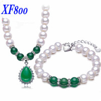 XF800 Natural Pearl Jewelry Sets White Real Freshwater Pearl Necklace Bracelet Earrings 4 SIZE For Choice