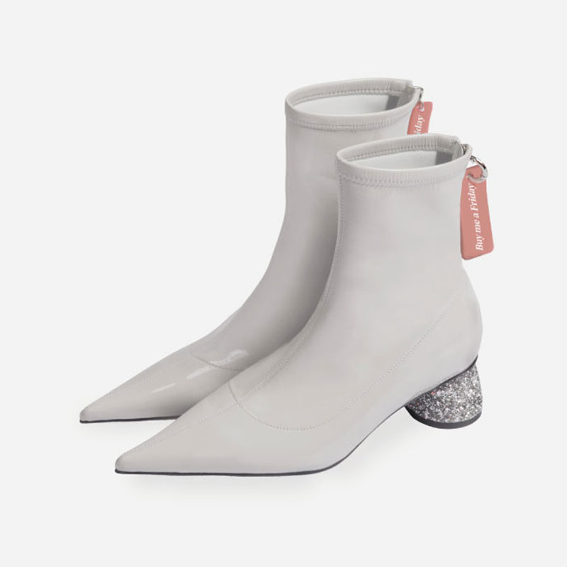 d0f4dfe1071 White Patent Leather Women Short Boots Sexy Pointed Toe Spring Boots Zipper  Ladies Ankle Booties Black Knight Boot Shoes