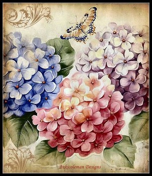 Needlework for embroidery DIY DMC High Quality - Counted Cross Stitch Kits 14 ct Oil painting - Butterflies Hydrangea II