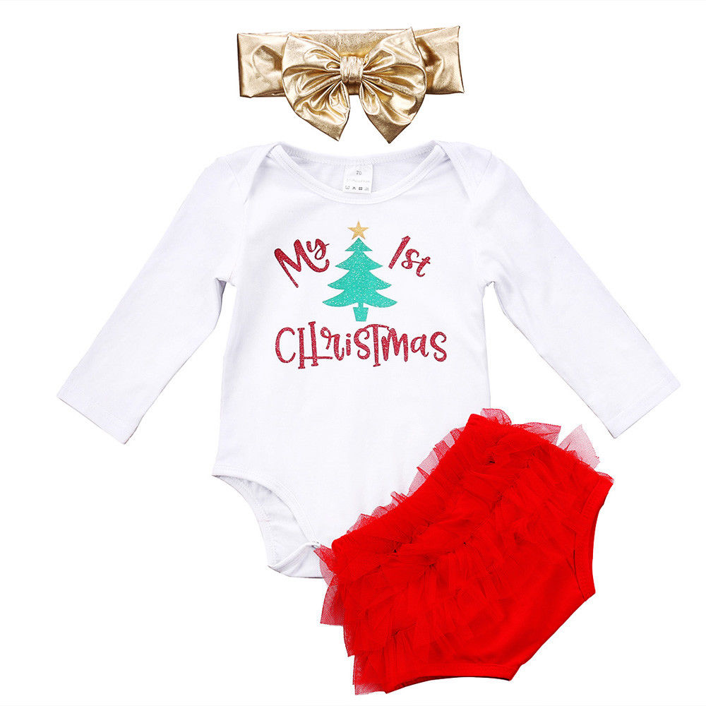 3PCS Set My 1st Christmas Newborn Baby Girl Clothes Long Sleeve Romper Tops+Tutu Lace Bloomers Shorts Headband Outfit Clothing my christmas cd