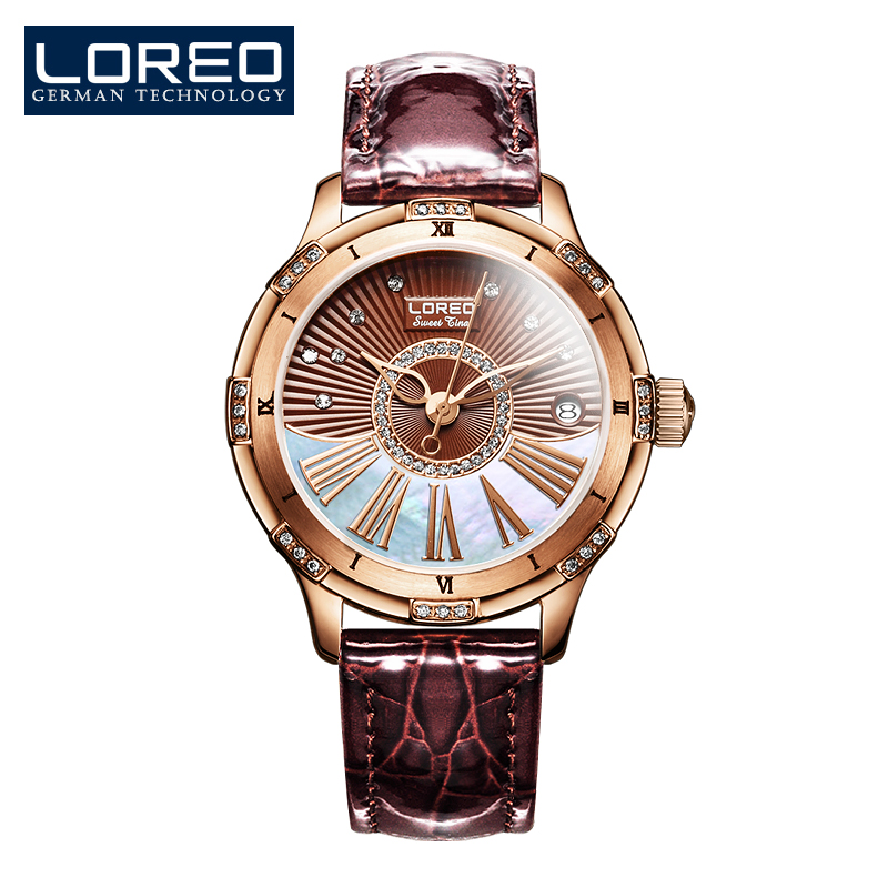 LOREO water resistant automatic mechanical Pearl dial inlay diamond sapphire brown Leather belt simple elegant lady watch loreo luxury brand austria diamond automatic mechanical pearl dial inlay diamond sapphire calendar water resistant lady watch