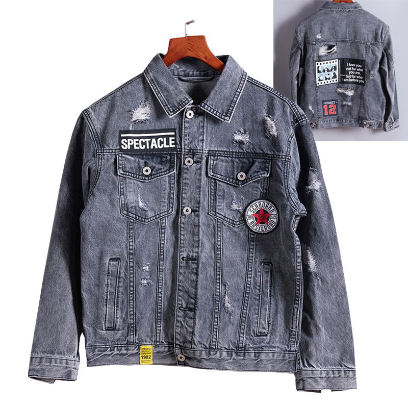 ABOORUN Hip Hop Denim Jackets Men Vintage Distressed Ripped Patches Jeans Jackets Male Printed Streetwear Clothes x423 high quality mens jeans ripped colorful printed demin pants slim fit straight casual classic hip hop trousers ripped streetwear