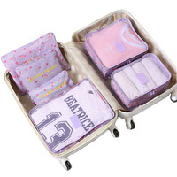 Nylon Packing Cube Travel Bag Men Women Luggage 6 Pieces Set Large Capacity Sports Bags Unisex