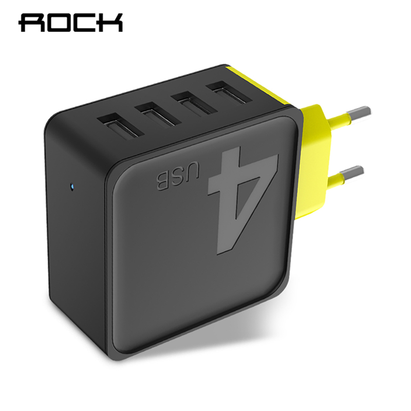 ROCK Sugar 4 USB Wall Phone Charger 5V 4A Fast Travel Adapter Charger for iPhone Samsung Xiaomi Fast Charger for Phones Tablets