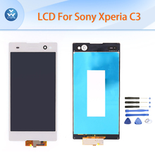 For Sony Xperia C3 LCD display touch screen digitizer assembly original 5.5″ pantalla D2533 D2502 S55U S55T black white+tools