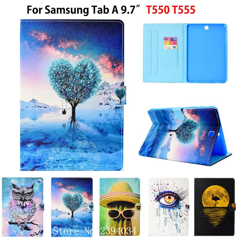 SM-T550 Cas De Mode Pour Samsung Galaxy Tab Un 9.7 SM-T555 T550 P555 P555C Couverture Funda Tablet Silicone PU En Cuir Stand Shell