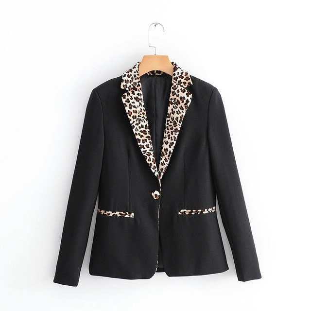 Women Black Leopard Blazer Long Sleeve Outerwear Work Jacket Womens Coat Fall 2018