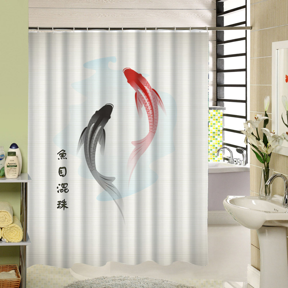 Pics photos children bathroom themes shower curtains fish animals - Fish Shark Whale Sea Animal Custom Shower Curtain Fabric Water Resistant Machine Washable Bathroom Curtain