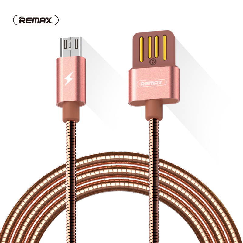 Printemps Métal Micro USB Données Câble 1 m 2.1A Double côté USB câble Sync Chargeur Câble rapide De Charge câble pour xiaomi/huawei/HTC REMAX