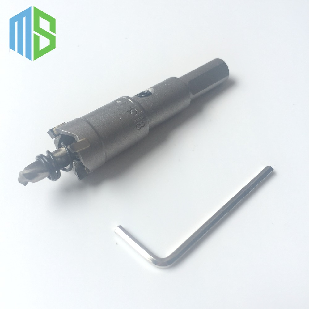 18mm Metalworking tungsten Carbide Tip Drill Bit TCT Hole Saw Set for Stainless Steel Metal Alloy Drilling