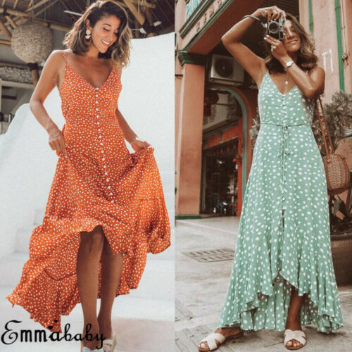 Summer Women Bohemian Maxi Dress Lady Evening Party Beach Dress Sundress Holiday Loose Sleeveless Dot Sexy Deep V Neck Clothes