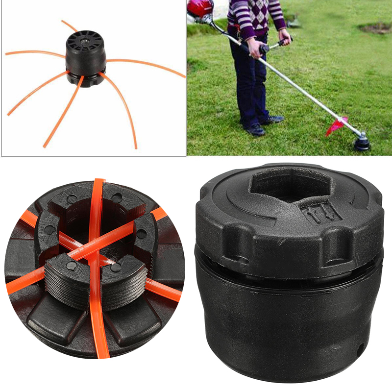DWZ ABS Plastic Line Trimmer Head with 3 Mowing Ropes Set for Lawn Brush Cutter 1pcs nylon line brush cutter head garden lawn mower bump grass brush trimmer head garden repalcement tools black