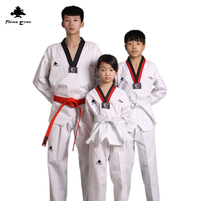 Оптовая продажа pinetree Дети тхэквондо униформа Длинные рукава WTF ребенок взрослый добок таэквондо Каратэ спортивный костюм Конкурс одежда