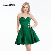 Зеленое короткое платье для выпускного вечера 2019 милое с открытыми плечами с кристаллами, атласное вечерние платья сексуальные мини платья