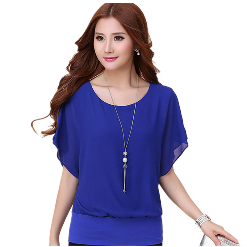 Women Black Shirt Blusas Plus Size Tops Purple Chiffon Shirt Female Short-Sleeve Chiffon Blouse Loose Solid Blusa Feminino C2947