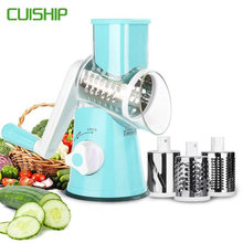 CUISHIP Vegetable Cutter Round Mandoline Slicer Potato Carrot Grater Slicer with 3 Stainless Steel Chopper Blades Kitchen Tool(China)