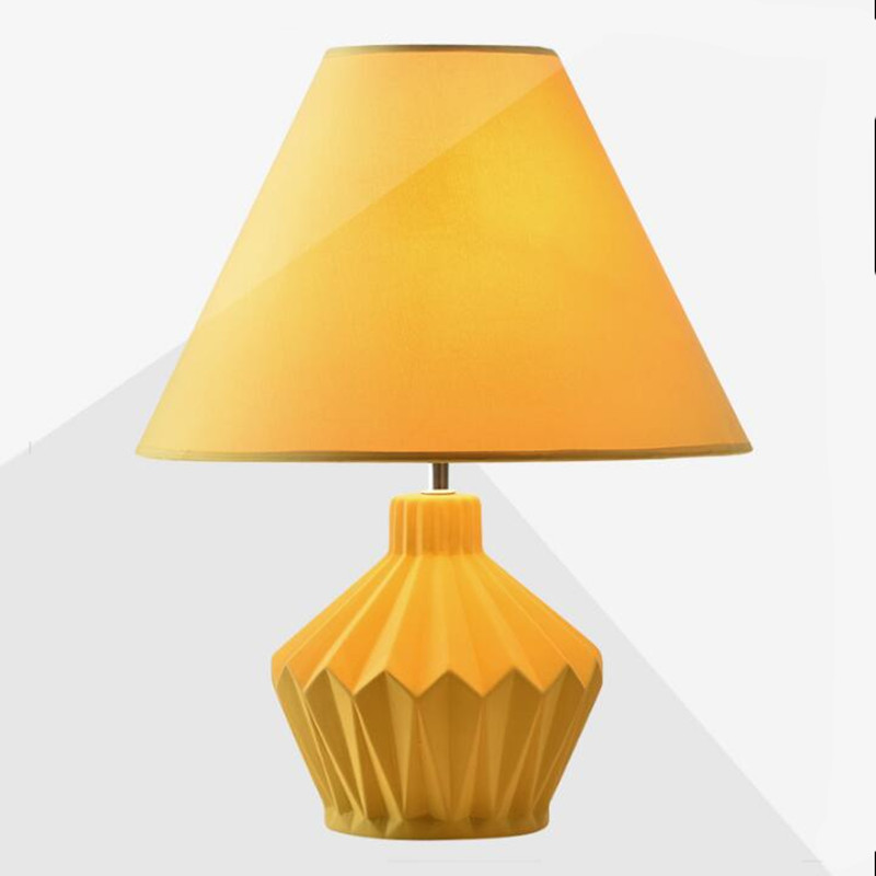 Nordic Simple Yellow Ceramic Fabric Led E27 Table Lamp for Bedroom Bedside Living Room Deco Lighting