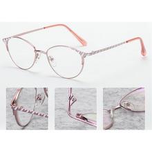 MINCL 2018 Moda rosa gato de metal temperamento feminino óculos de leitura  ultra-leve óculos de leitura fadiga com caixas LXL 980cfcb958