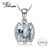 JewelryPalace Oval 1 83 Ct Green Amethyst Natural Stone Pendant Necklace 925 Sterling Silver Vintage Jewelry