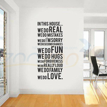 Harmonie haus regeln in diesem haus quote wandtattoo zooyoo8011 dekorative adesivo de parede abnehmbare vinyl-wandaufkleber