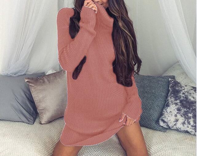 2019 Herbst Winter Kleider High Neck Slim Long Sweater Tightened - Damenbekleidung - Foto 5