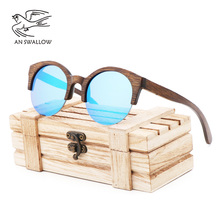 New fashion Vintage bamboo brown bamboo wooden glasses bamboo half-frame sunglasses