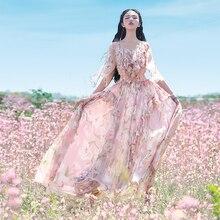 S-L Boshow ボヘミアン花プリントドレス 無料市平