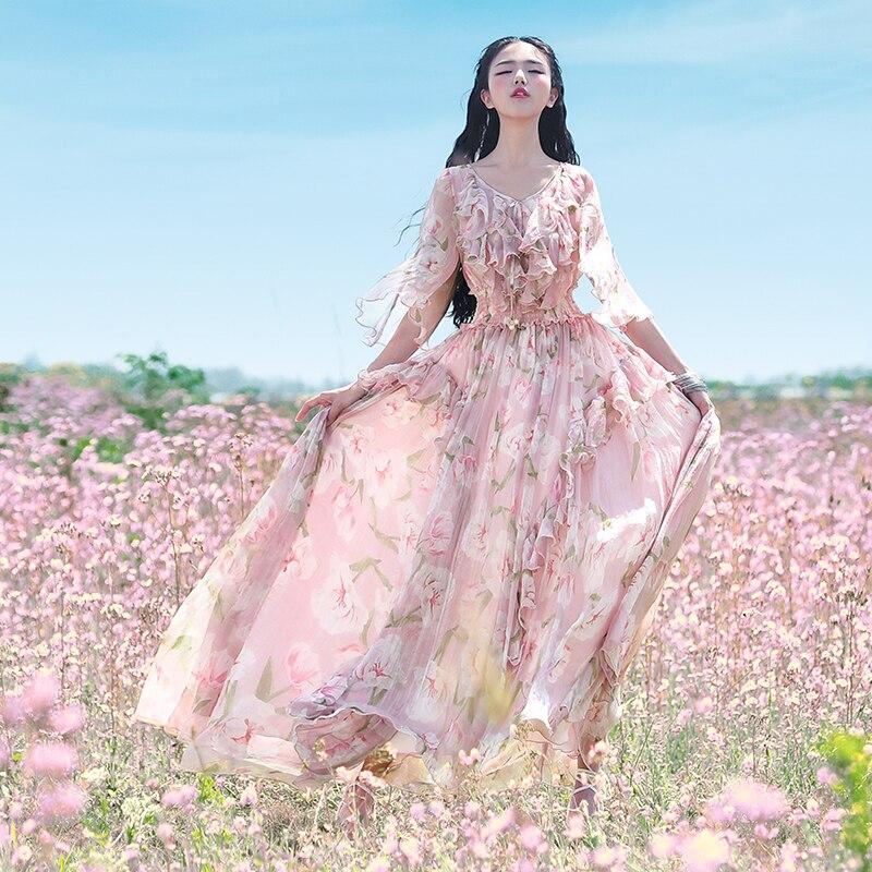 Livraison gratuite 2019 nouvelle mode femmes en mousseline de soie longue Maxi Long volants manches robes été Boshow bohème fleurs imprimer robe S-L